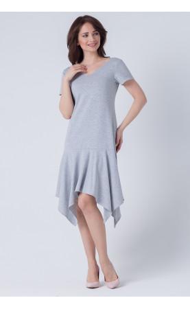 Nowoczesna sukienka w kolorze szarym, Asymetryczne kreacje wizytowe od Choice