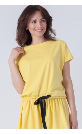 Casualowa suknia z krótkim rękawem i okrągłym dekoltem, Piękne kreacja na lato od Choice