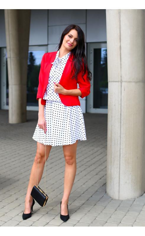 Nowoczesny żakiet w kolorze czerwonym, Krótkie marynarki na wiosnę od Choice