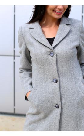 Szary płaszcz flauszowy z jednorzędowym zapięciem, Modne płaszcze wizytowe od Choice