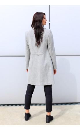 Piękny płaszczyk nad kolano, Jasnoszara odzież wierzchnia na co dzień od Choice