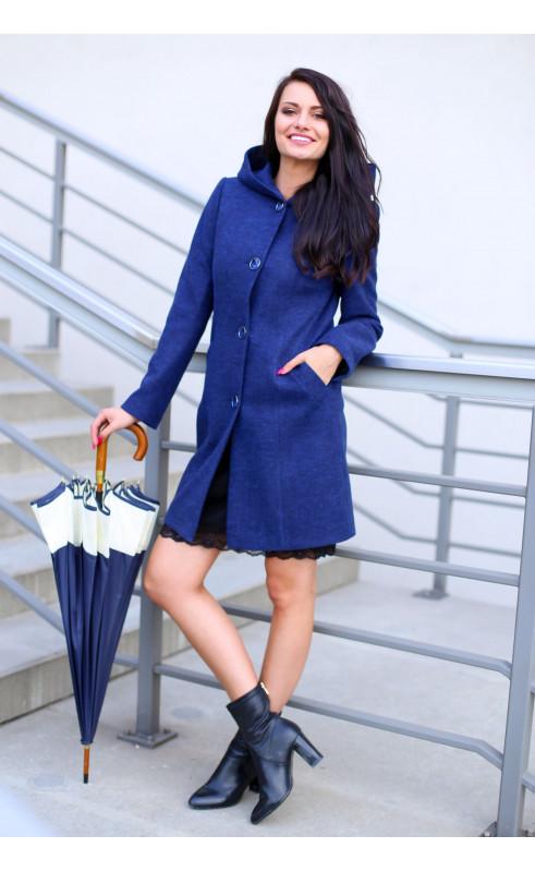 Granatowy płaszcz nad kolano, Stylowe płaszcze jednorzędowe od Choice